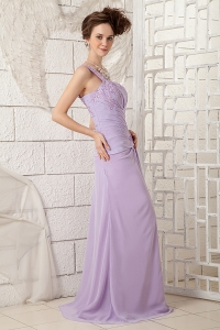 Lavender One Shoulder Prom Dress Brush Train Chiffon Appliques