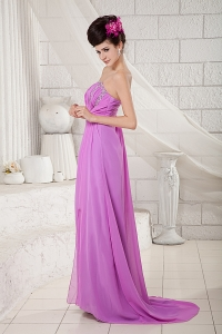 Lavender Empire Strapless Chiffon Beading Prom Dress