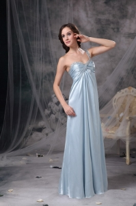 One Shoulder Chiffon Beading and Ruch Evening Celebrity Dress