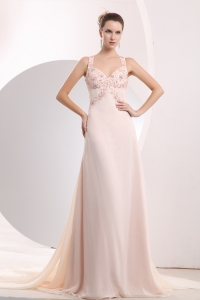 Light Pink Straps Watteau Train Appliques Prom / Evening Dress