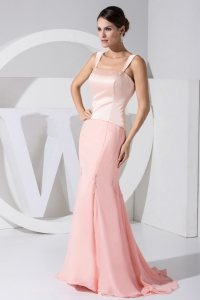Mermaid Brush Train Light Pink Straps Prom Dress