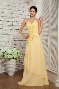 Halter Brush Train Chiffon Appliques Prom Dress