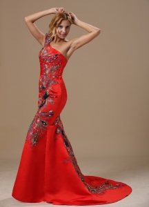 Mermaid Red One Shoulder Special Embroidery Prom Celebrity Dress