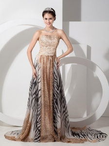 Multi-color Special Fabric Celebrity Evening Dress