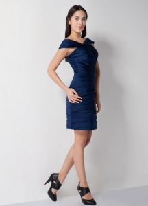 Navy Blue Asymmetrical Ruched Cocktail Graduation Dresses