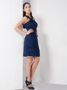 Navy Blue V-neck Straps Ruched Cocktail Homecoming Dresses