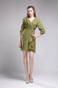 Olive Green 3 / 4-length Sleeves Cocktail Graduation Dresses