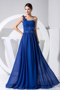 Soft One Shoulder Beaded Blue Chiffon Prom Dress