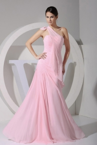 One Shoulder Pink Chiffon Floor-length Prom Dress