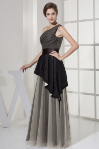 Fashionable Three-tones One Shoulder Ruched Bodice Prom Dress