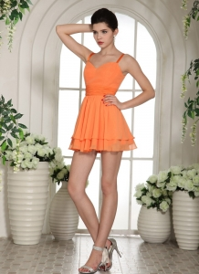Orange Sweetheart Mini-length Straps Prom Cocktail Dresses