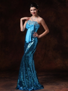 Paillette Over Skirt Bowknot Beading Prom Celebrity Gowns