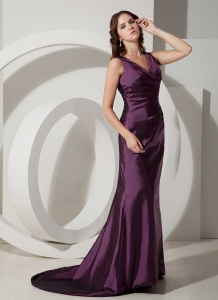 Purple V-neck Brush/Sweep Evening Dress for Red Carpet