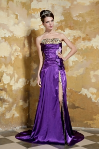 Purple Elastic Satin and Leopard Beading Prom Dress