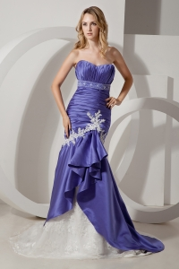 Purple Mermaid Court Train Elastic Satin Appliques Prom Dress
