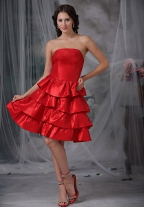 Red Strapless Ruffled Layers Dama Dresses for Quinces