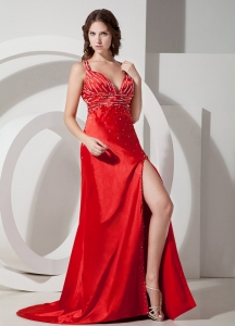 Straps Elastic Woven Satin Red Carpet Dresses with High Slit
