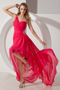 One Shoulder High-low Chiffon Beading Red Prom Dress