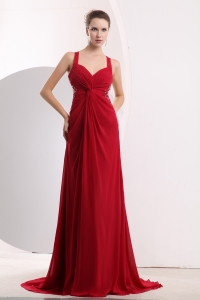 Straps Brush Train Chiffon Beading Red Prom / Evening Dress
