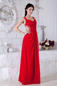 Red Empire Straps Floor-length Beading Prom Evening Dress