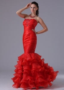 Mermaid Sheath Ruffles Layered Beading Prom Celebrity Dress