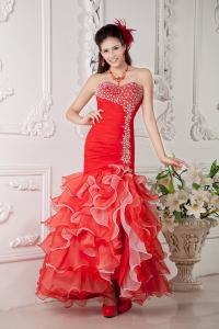 Red Mermaid Organza Ruffles Beading Prom Evening Dress