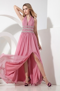 Rose Pink Halter V-neck Chiffon Beading Prom Dress