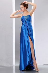 Spaghetti Straps Beading Prom Dress with High Slit