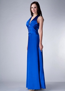 Royal Blue V-neck Ankle-length Satin Evening Pageant Dress