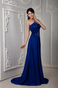 Royal Blue Prom Dress Empire Brush Train Beading