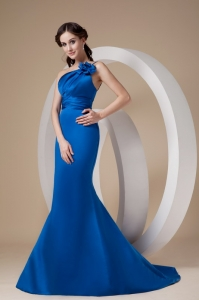 Mermaid One Shoulder Pageant Dress with Hand-made Flower