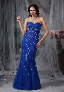 Royal Blue Mermaid Beading Prom Celebrity Dresses in Spring