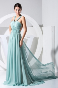 Ruch Halter V-neck Watteau Train Light Blue Prom Dress