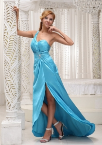 Ruched One Shoulder High Slit Aqua Blue Prom Evening Dress