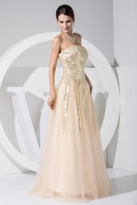 Sequin Tulle Champagne Strapless Prom Evening Dress