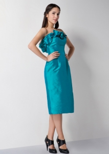 Strapless Teal Taffeta Cocktail Graduation Dresses
