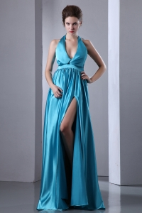 Teal Empire Halter Elastic Satin Slit Pleat Prom Dress