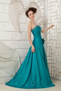 Turquiose Prom Dress A-line Sweetheart Brush Train Beading