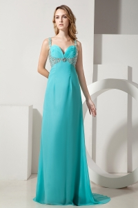 Turquoise Straps Brush Train Chiffon Beading Prom Dress