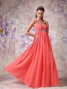 Watermelon Red Straps Chiffon Beading Prom / Evening Dress
