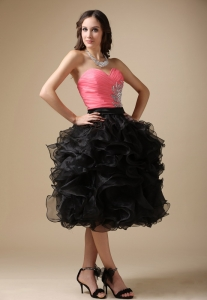 Sweetheart Beading Graduation Dresses with Organza Ruffles
