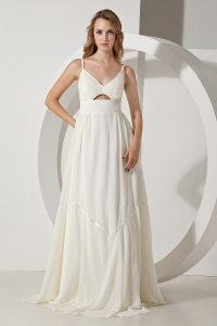 White Empire Straps Brush Train Chiffon Prom Dress