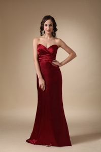 Wine Red Sweetheart Brush Train Ruch Evening Pageant Dress