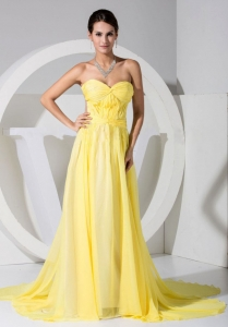 Prom Dress Yellow Sweetheart Neckline Brush Train