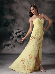 Beading and Ruched Slit Yellow Celebrity Pageant Dresses