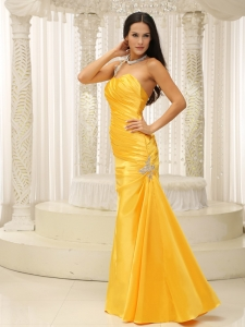 Yellow One Shoulder Ruch Evening Pageant Dress Appliques