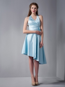 Baby Blue Halter Top Ruch Damas Dresses for Quinceanera