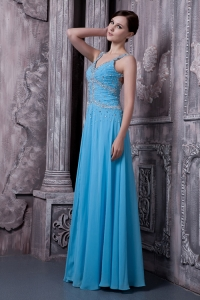 Straps Beading Prom Evening Dresses Aqua Blue Ruch
