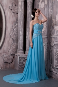 Aqua Blue Prom Holiday Dress Court Train Chiffon Beaded