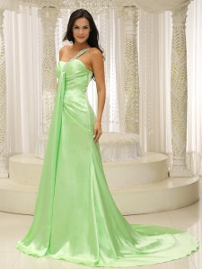 Beaded One Shoulder Ruched Bodice Prom Evening Dress